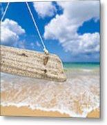 Wooden Beach Sign Algarve Portugal Metal Print by Amanda Elwell
