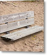 Wooden Bench Burried In The Sand Metal Print