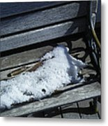 Wooden Bench With Snow 1 Metal Print