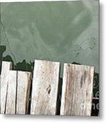 Wooden Board Against Sea Surface Metal Print