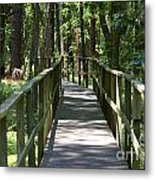 Wooden Boardwalk Through The Forest Metal Print
