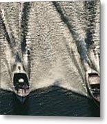 Wooden Boat Aerial Metal Print