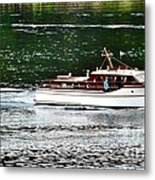 Wooden Boat With Skiff Metal Print