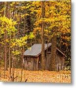 Wooden Cabin In Autumn Metal Print