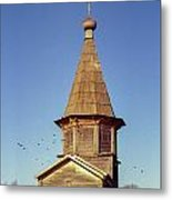 Wooden Church And Birds. Old Film Camera. Metal Print