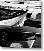 wooden colourful fishing boats and dinghys sitting on the beach at las teresitas Tenerife Canary Islands Spain Metal Print
