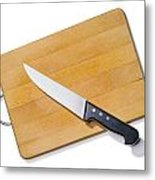 Wooden Cutting Board With Kitchen Knife Metal Print