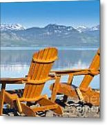 Wooden Deckchairs Overlooking Scenic Lake Laberge Metal Print