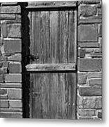 Wooden Door And Stone Wall 1 Metal Print