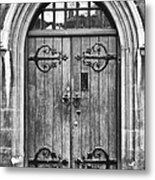 Wooden Door At Tower Hill Bw Metal Print by Christi Kraft