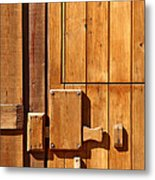Wooden Door Detail Metal Print by Carlos Caetano