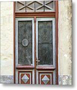 Wooden Door With Glass And Decoration Metal Print