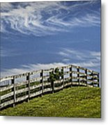 Wooden Farm Fence On Crest Of A Hill Metal Print