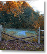 Wooden Fence In Autumn Metal Print