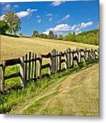 Wooden Fence In Green Landscape Metal Print