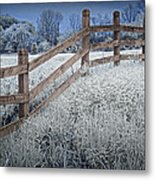 Wooden Fence Of A Friesian Horse Pasture On Windmill Island Metal Print