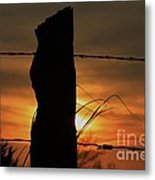 Wooden Fence Post Sunset Metal Print