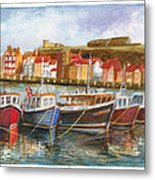 Wooden Fishing Boats In The Whitby Fleet Of Northern England Metal Print