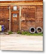 Wooden Gate Of Rural Timber Building Closed Sign Metal Print