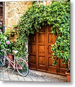 Wooden Gate With Plants In An Ancient Metal Print