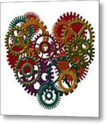 Wooden Gears Forming Heart Shape Illustration Metal Print