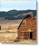 Wooden Hut In The Countryside Of Metal Print