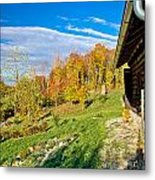 Wooden Lodge In Autumn Mountain Nature Metal Print