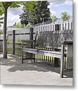 Wooden Park Benches Metal Print