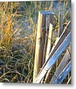Wooden Post And Fence At The Beach Metal Print