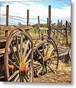 Wooden Ranch Wagon Metal Print