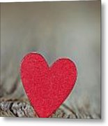 Wooden Red Heart On Rustic Background Metal Print