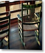 Wooden Rocking Chairs On A Deck Metal Print