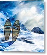Wooden Snowshoes  Metal Print by Bob Orsillo