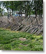 Wooden Spiked Fence Metal Print