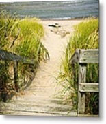 Wooden Stairs Over Dunes At Beach Metal Print