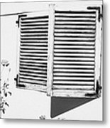 wooden sun shutter blinds on windows of house with roses in the garden in tacoronte Tenerife Canary Islands Spain Metal Print