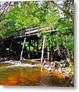 Wooden Suspension Bridge Metal Print