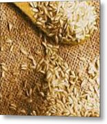 Wooden Tablespoon Serving Of Uncooked Brown Rice Metal Print