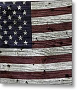 Wooden Textured Usa Flag3 Metal Print by John Stephens