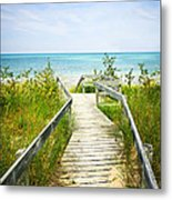 Wooden Walkway Over Dunes At Beach Metal Print