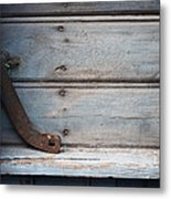 Wooden Wall In Blue Metal Print
