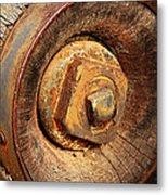 Wooden Wheel Hub Metal Print