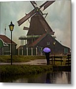 Wooden Windmill In Holland Metal Print