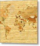 Wooden World Map 2 Metal Print