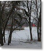 Woodland Farm In Winter Metal Print