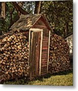 Woodpile And Shed Metal Print