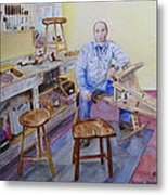 Woodworker Chair Maker Metal Print