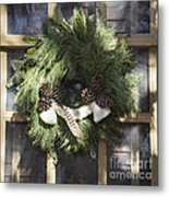 Wool And Feather Wreath Metal Print