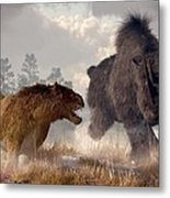 Woolly Rhino And Cave Lion Metal Print