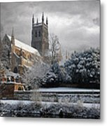 Worcester Cathedral Cloudy Metal Print